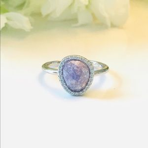 Sterling Silver Offset Purple Ice & CZ Ring